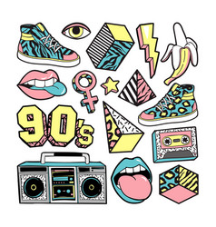 fashion patches in in 80s-90s memphis style vector image