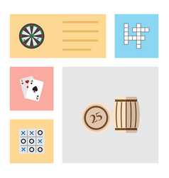 flat icon play set of guess lottery ace and vector image