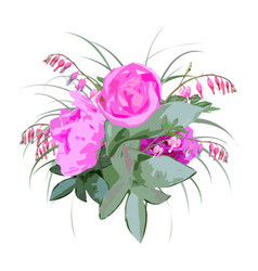Floral bouquet with peony flowers vector