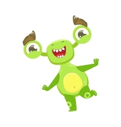 Funny Monster Dancing And Smiling Green Alien vector image