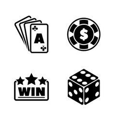 Gambling simple related icons vector