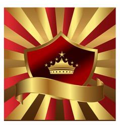 Gold shield emblem with king crown vector