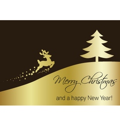 Golden Christmas Tree with Reindeer vector image vector image