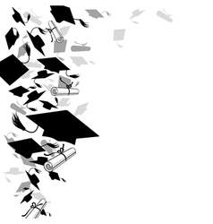 Graduate caps and diploma vector