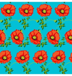 green seamless background with flowers vector image