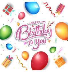 Happy birthday design with gift box balloon vector
