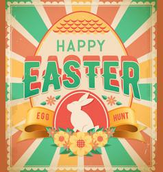 Happy easter egg hunt vintage card poster vector