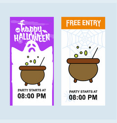 happy halloween invitation design with pot vector image