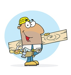 Hispanic Worker Man A Wood Plank vector image