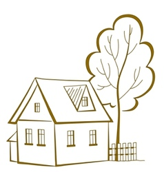 house with a tree pictograph vector image