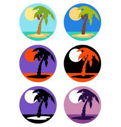 Icons set palm tree emblems vector