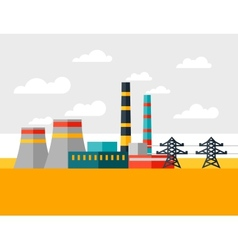 industrial power plant in flat style vector image vector image