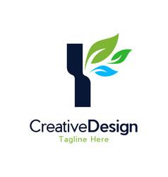 Letter y leaf creative business logo vector