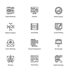 Line icons internet and digital marketing vector