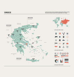 Map greece high detailed country vector