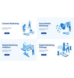 marketing blue set vector image