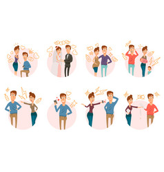 marriage divorce icons collection vector image