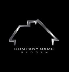 Metallic house logo vector