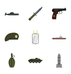 Military defense icons set flat style vector