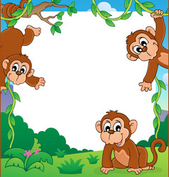 Monkey thematic frame 1 vector