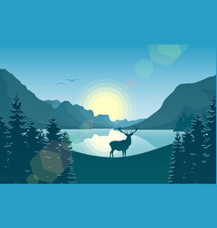 Mountain landscape with deer in a forest and lake vector