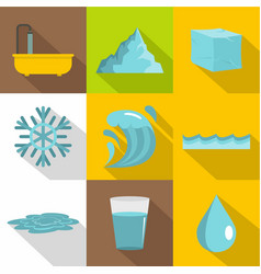 natural water icon set flat style vector image