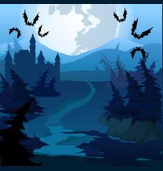 Path through enchanted forest at night vector
