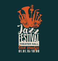 Poster for the jazz festival with wind instruments vector