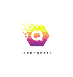 q colorful hexagonal letter logo design with vector image
