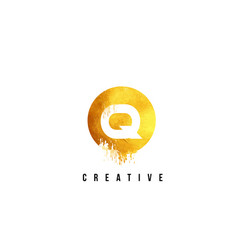 q gold letter logo design with round circular vector image