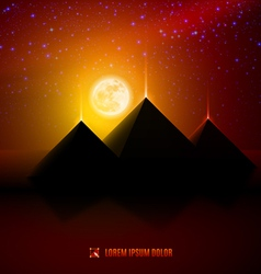 Red and orange night desert landscape vector image