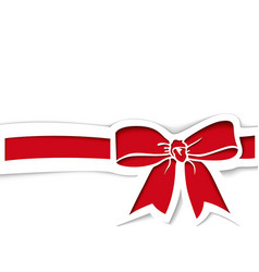 red bow and ribbon in paper cutout style vector image
