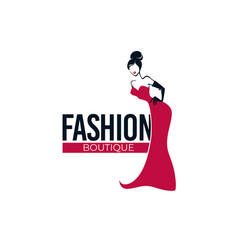 Retro fashion lady in red dress fashion store vector