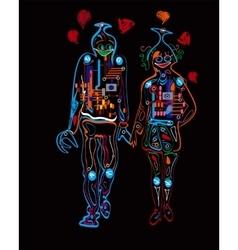 Robots Love Background vector image