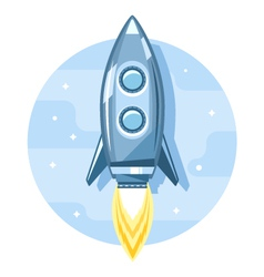 Rocket in Sky Flat Icon vector