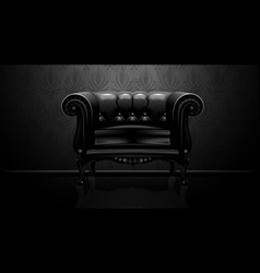 Royalty vintage leather armchair on black backgrou vector