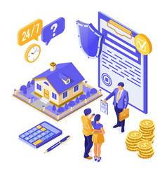 Sale insurance rent mortgage house isometric vector