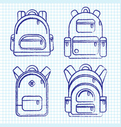 School backpacks set of sketched and ink backpack vector