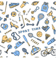 seamless pattern with sport elements and lettering vector image
