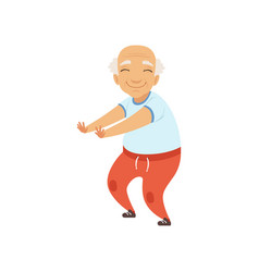 Senior man in sports uniform doing squats vector