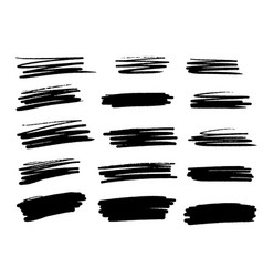 set brush strokes set line vector image