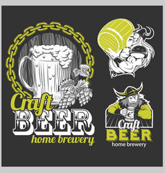 set craft beer and vikings logo vector image
