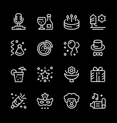 set line icons party vector image