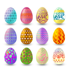 set of easter eggs with differnt pattern isolated vector image