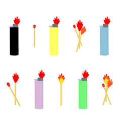 set of lighters and matches vector image