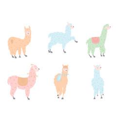 set of llamas in pastel vector image