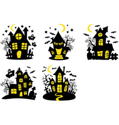 Set shary houses halloween background vector