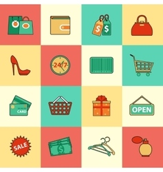 set shopping and sale line icons flat style vector image