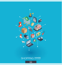 Shopping integrated 3d web icons digital network vector
