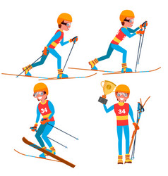 Skiing young man player man ski resort vector